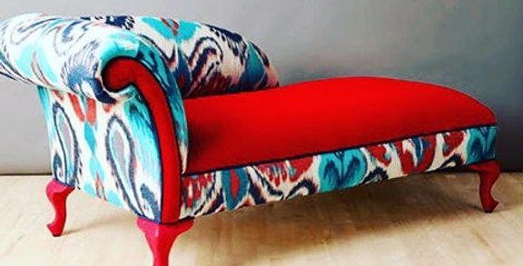 Settee Bench - Ikat and velour