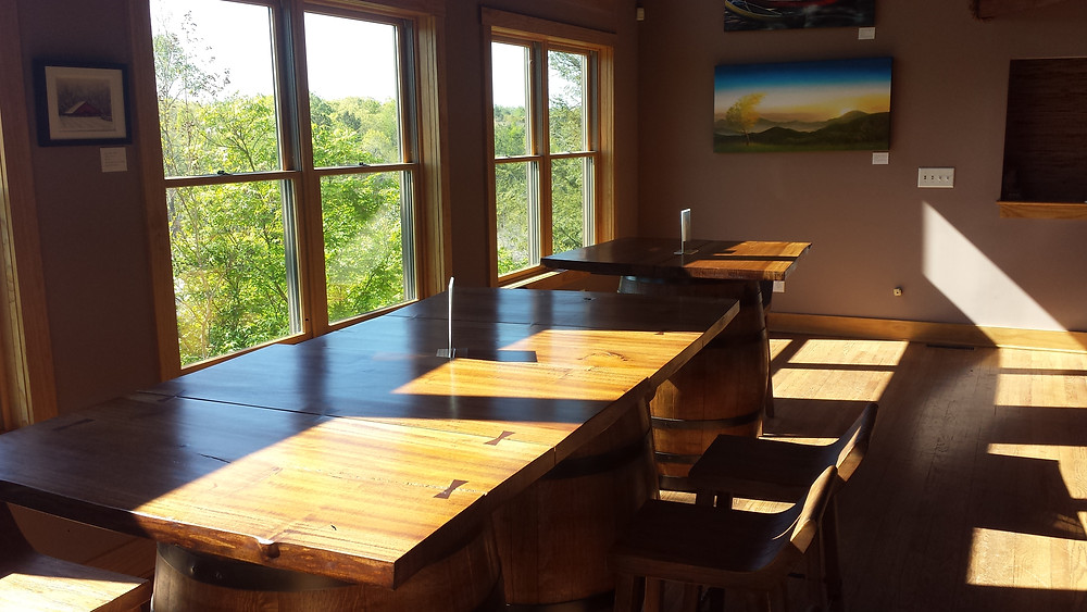 Beautifully crafted seating area in the tasting room