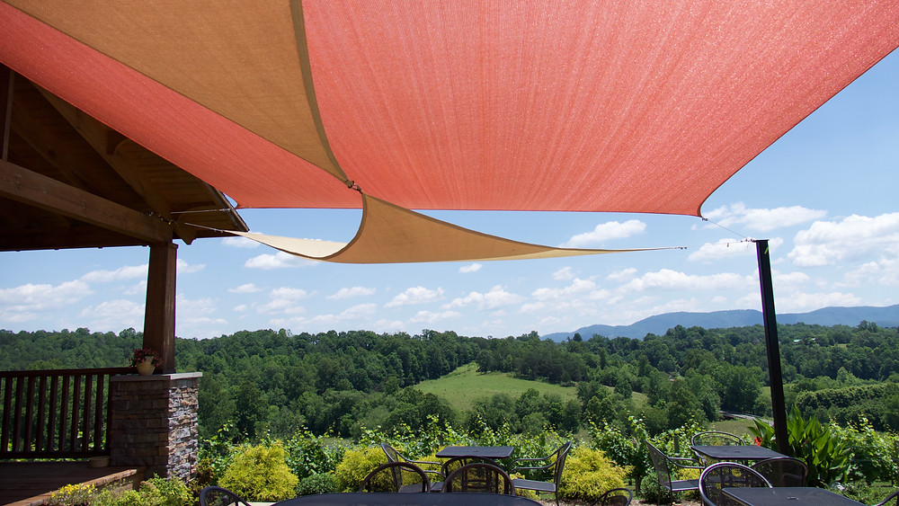 Shade sails form a beautiful cover