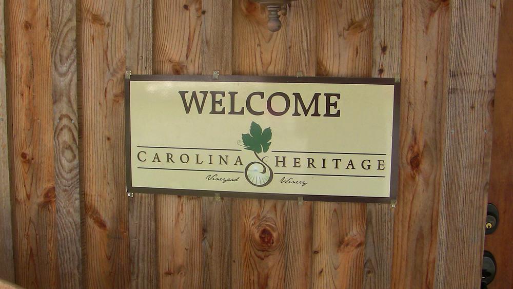Wecolme Sign at Carolina Heritage Vineyard & Winery