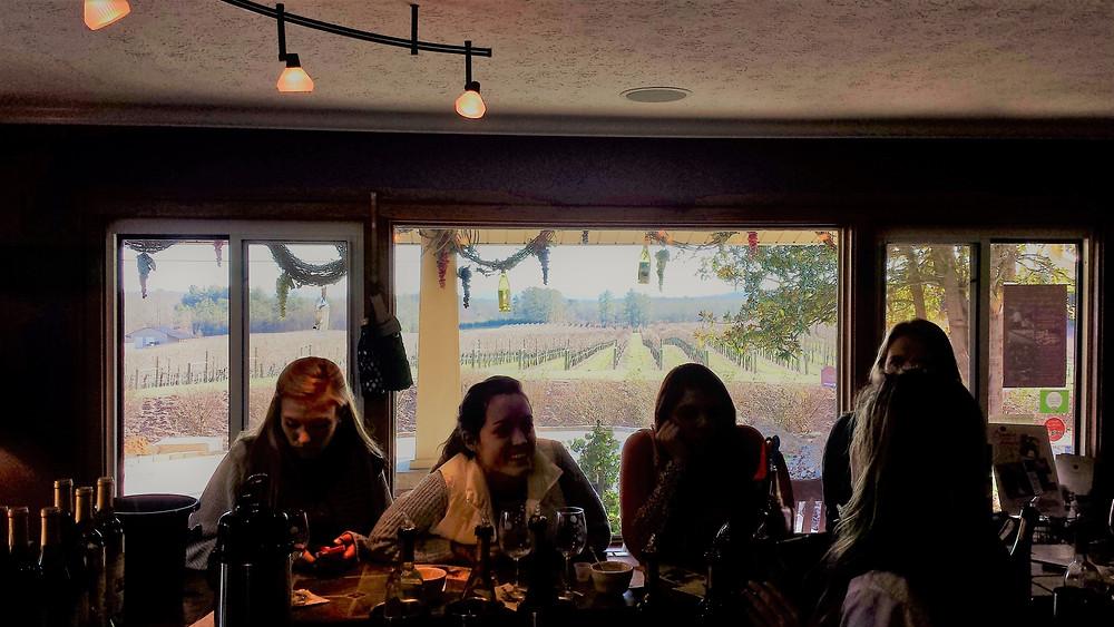 Burntshirt Vineyards Tasting Room Vines View