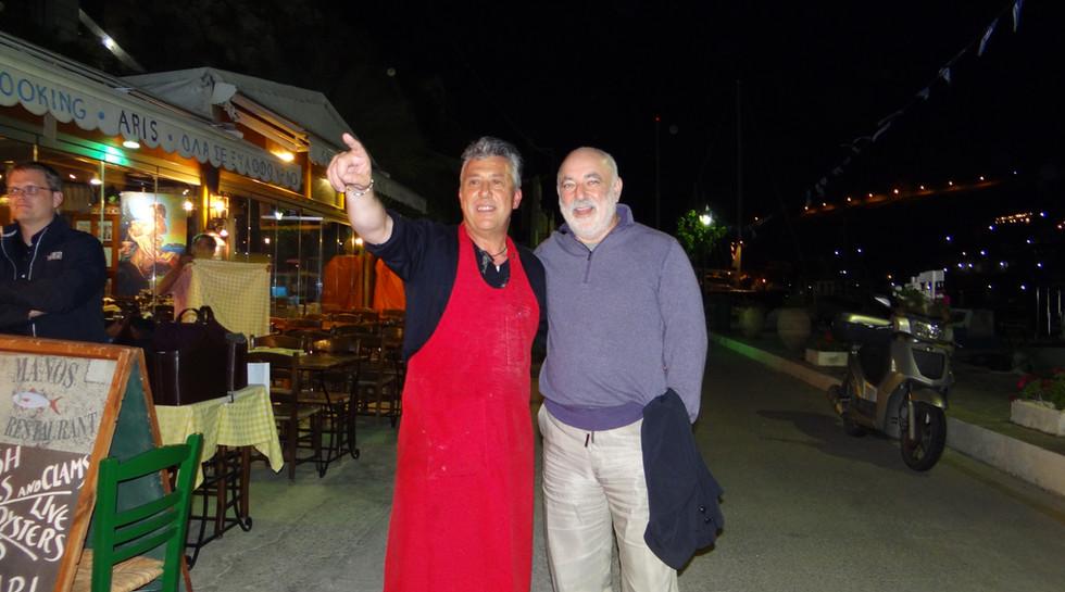 Billionaire Viktor Vekselberg and Manos at Manos Fish Restaurant Symi Island