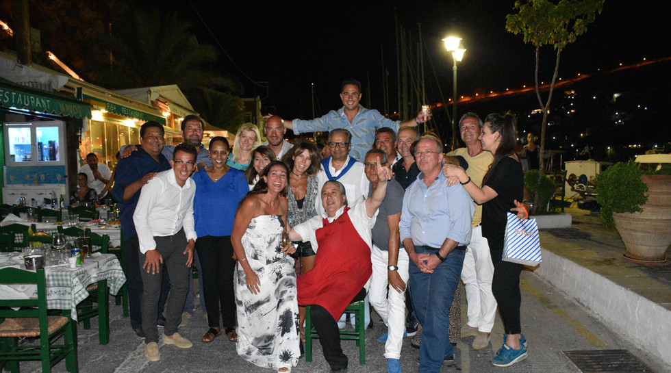 Mr MOHHAMED al SOLEIMAN with his Wife NADA, Friends and Manos at Manos Fish Restaurant in Symi Island