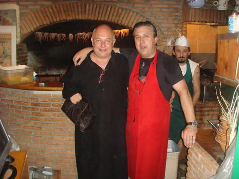 Rolf Sachs and Manos at Manos Fish Restaurant