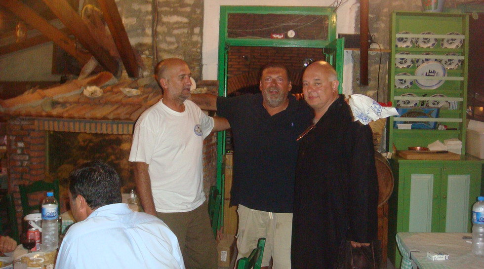 Rolf Sachs and friends at Manos Fish Restaurant Symi Island