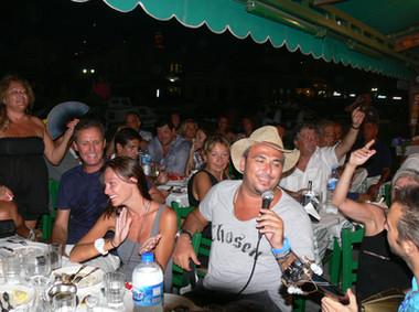 Antonis Remos and Manos Singing at Manos Fish Restaurant Symi Island