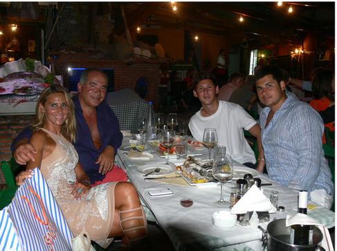 russia FARHAD AKHME Billionaire Farkhad Akhmedov his wife and family at Manos Fish Restaurant Symi Island.