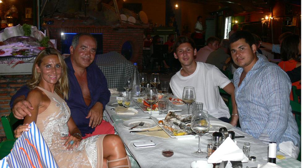russia FARHAD AKHMEBillionaire Farkhad Akhmedov his wife and family at Manos Fish Restaurant Symi IslandDOV family.TATIANA ,T