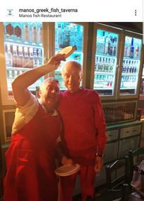 Billionare Viktor Rashnikov and Manos in Manos Fish Restaurant Symi Island