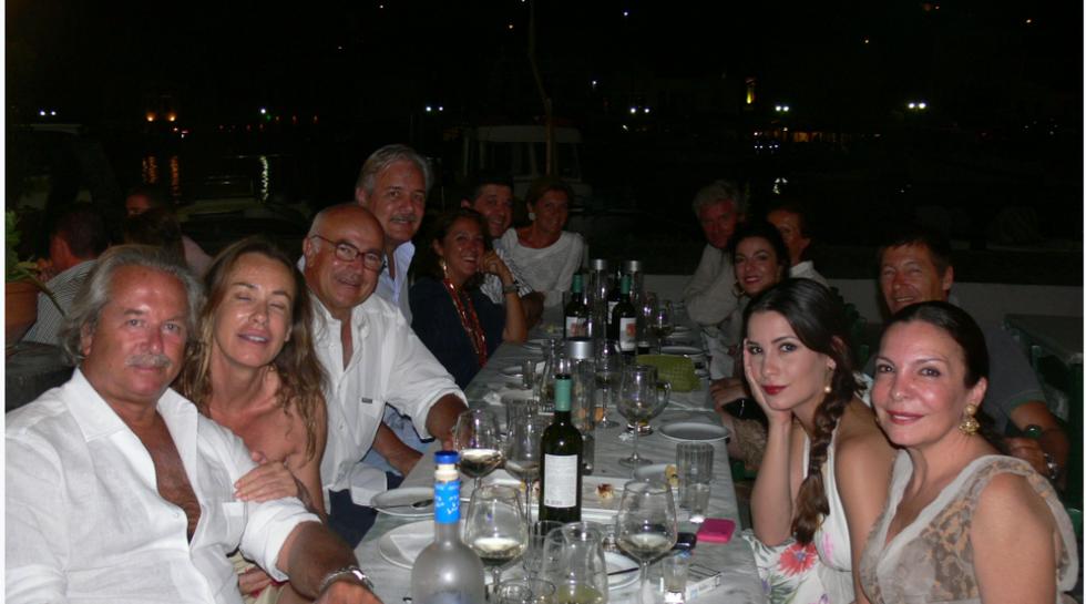 Billionaire Pier Luigi Loro Piana with his family at Manos Fish Restaurant Symi Island