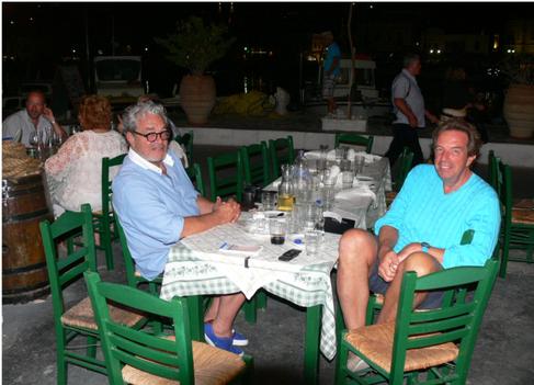 Philippe Gudin with friends at Manos Fish Restaurant Symi Island