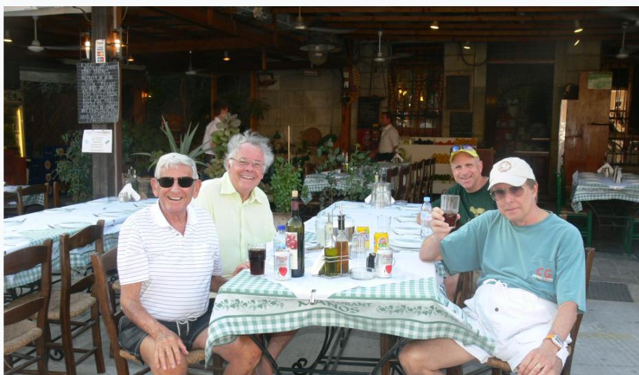 WILLIAM FRIEDKIN Golden Award winner film producer ant Manos Fish Restaurant in Symi Island