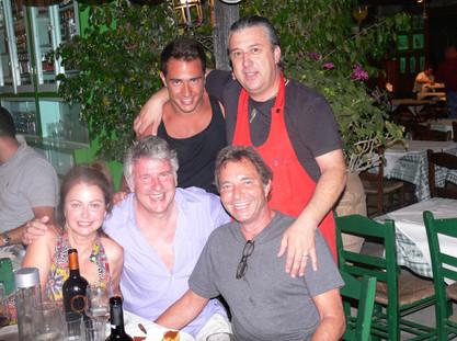 The famous PATRICK WACHSBERGER and Manos at Manos Fish Restaurant Symi Island
