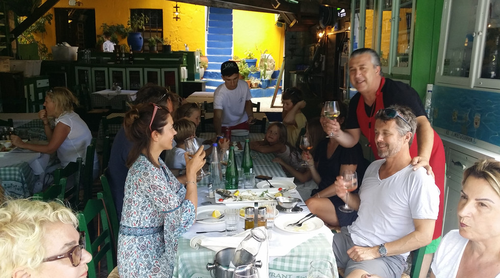 Frederik, Crown Prince of Denmark with family at Manos Fish Restaurant Symi Island