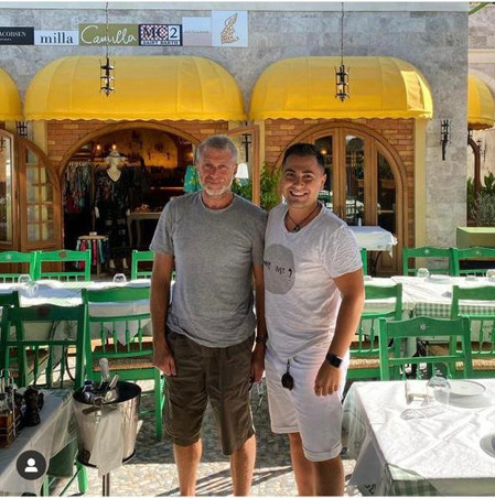 ROMAN ABRAMOVITS and Konstantinos Manos Sun at Manos Fish Restaurant