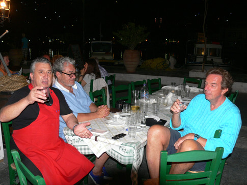 Philippe Gudin with friends and Manos at Manos Fish Restaurant Symi Island