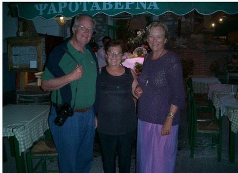 Queen Paola of Belgium at Manos Fish Restaurant Symi Island