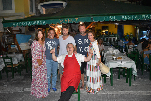 PRINCE and PRINCESS OF Frederik, Crown Prince of Denmark with Manos at Manos Fish Restaurant Symi Island