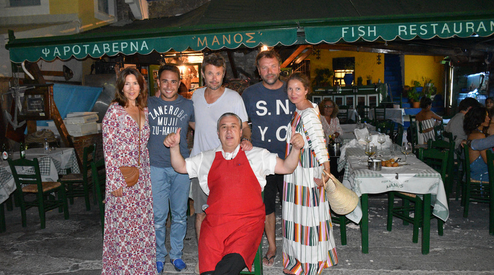 PRINCE and PRINCESS OF Frederik, Crown Prince of Denmark with Manos at Manos Fish Restaurant Symi Islandwith MANO