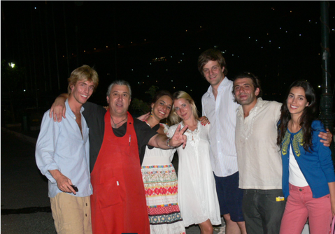 PRINCE CRISTIAN & ERNST of HANNOVER at Manos Fish Restaurant Symi Island