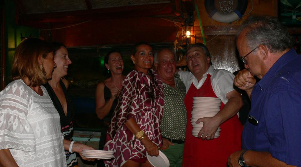 PIZZIOTTI and MANOS at Manos Fish Restaurant Symi Island