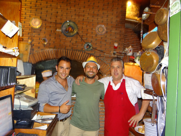 TARKAN with MANOS and Yiannis at Manos Fish Restaurant in Symi Island