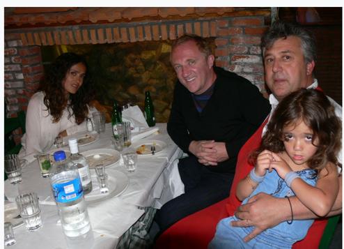 Billionaire François-Henri Pinault and his wife SALMA HAYEK with Manos at Manos Fish Restaurant Symi Island