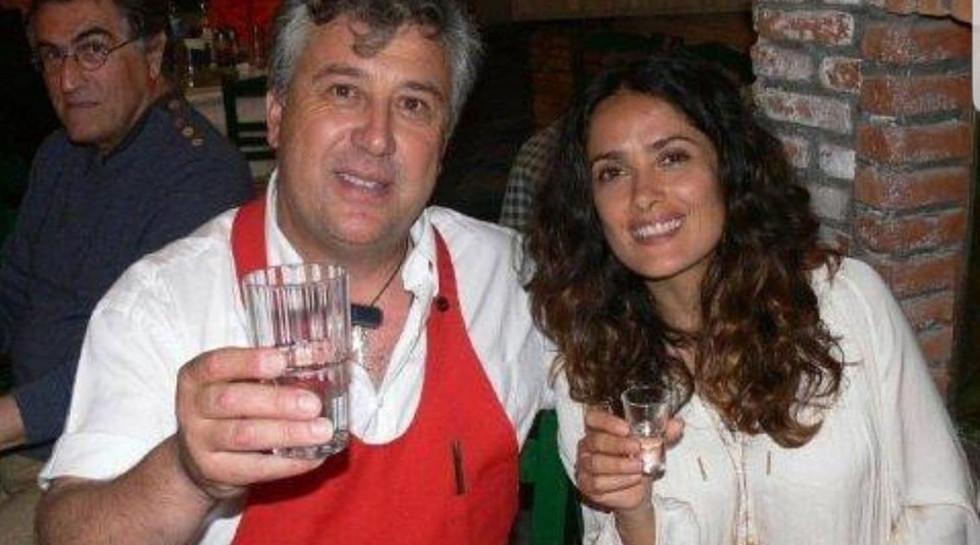 SALMA HAYEK & MANOS at Manos Fish Restaurant Symi Island