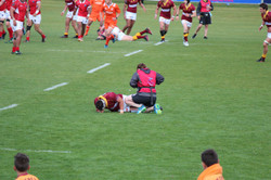 Jenny attending to an injury on the field
