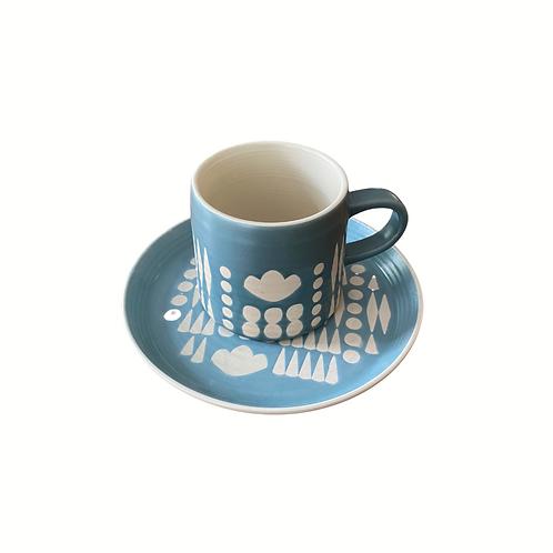 Blue + White Collage Mug and Plate Set