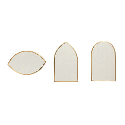 Brass Geometric Mirrors (set of 3)
