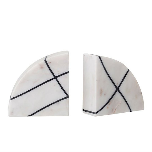 Marble Bookends with Black & White Stripes