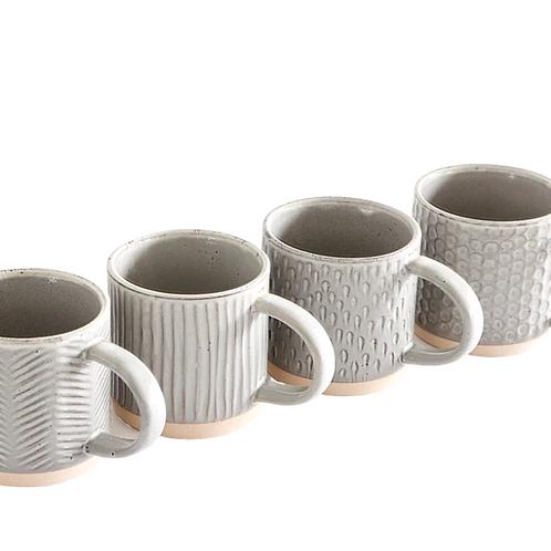 Debossed Stoneware Mug Set (set of 4)