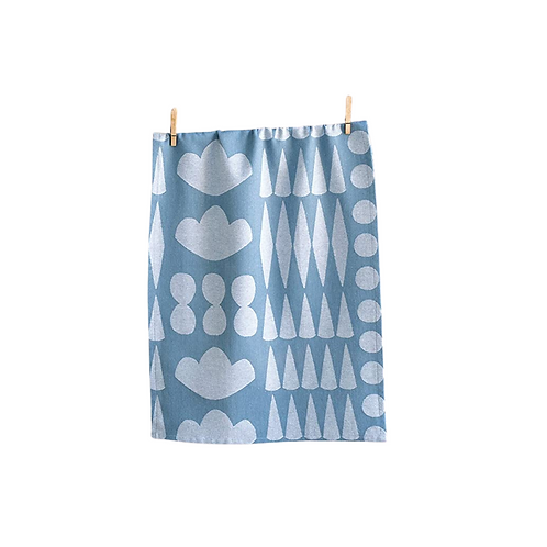 Blue and White Collage Tea Towel