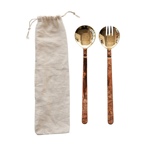 Mixed Metal Brass and Copper Salad Server Set