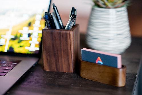 Walnut Office Desk Set | Office Desk Accessories | Home Office | Employee Gift |