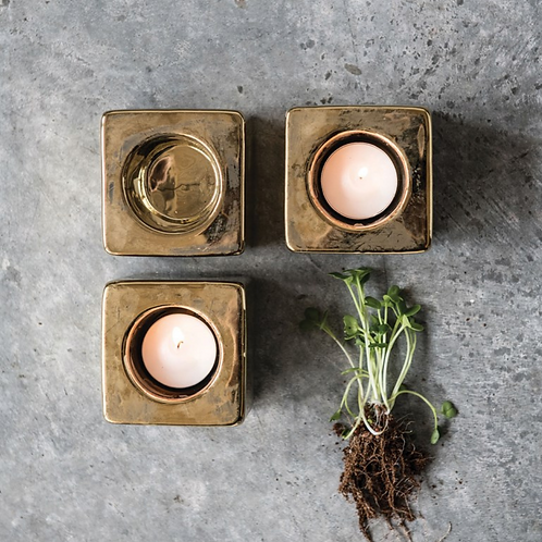 Gold Cast Terracotta Tealight Holder Set (set of 3)