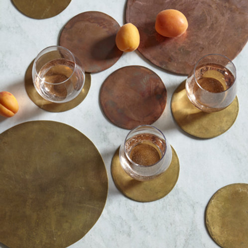 Solid Brass Coasters, Set of 4
