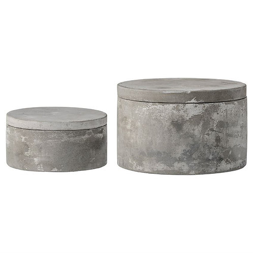 Cement Boxes with Lids (set of 2)