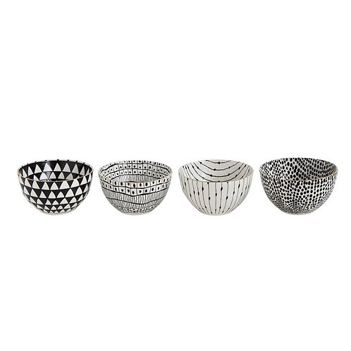 Black Patterned Stoneware Bowl with Gold Rims (set of 4)