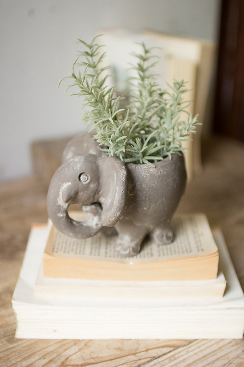 Handmade Clay Elephant Planter