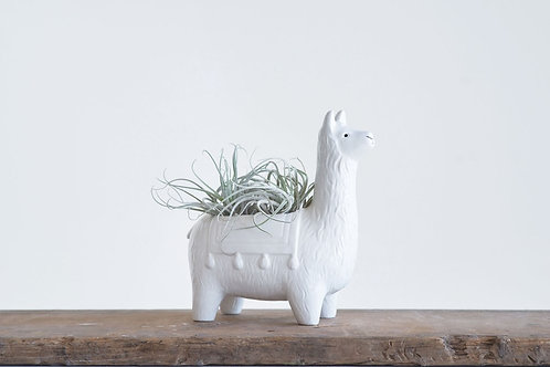 White Ceramic Llama Planter | Animal Planter | Indoor Planter