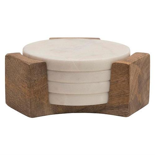Marble Coasters with Mango Wood Holder