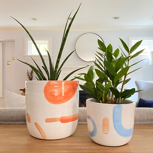 Set of 2 Hand-Painted Multi Color Planters (set of 2) | Indoor Planter | Flower