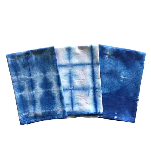 Hand-Dyed Indigo Shibori Kitchen Towel
