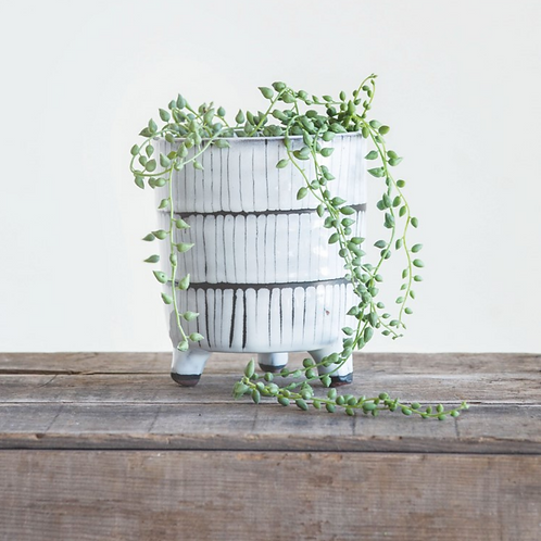 """5"""" White + Black Footed Terracotta Planter"""