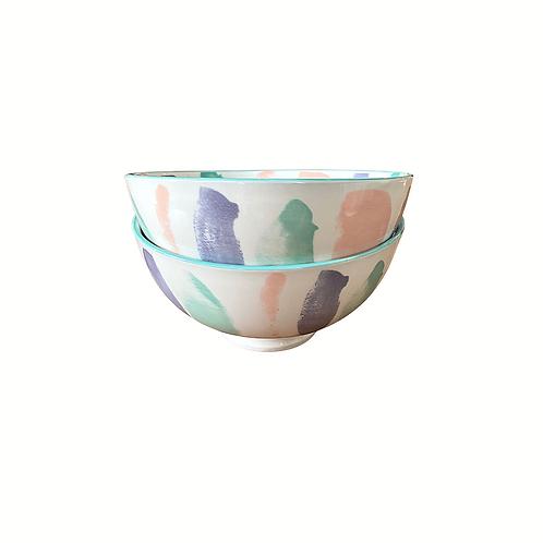 """Set of 2 Modern Color Splash Bowls (6"""")"""