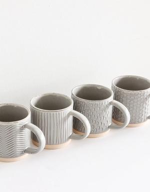 Debossed Stoneware Mug Set (set of 4)