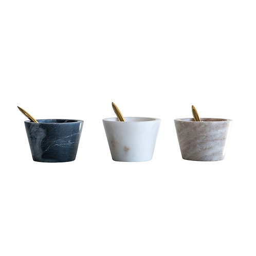 Marble Bowl w/ Brass Spoon (set of 3)