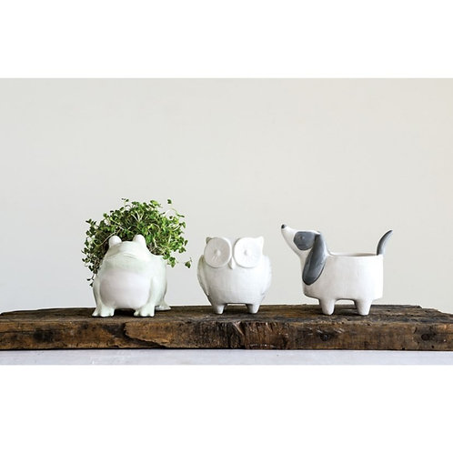 White and Grey Ceramic Dog Planter | Animal Planter | Indoor Planter | Gray